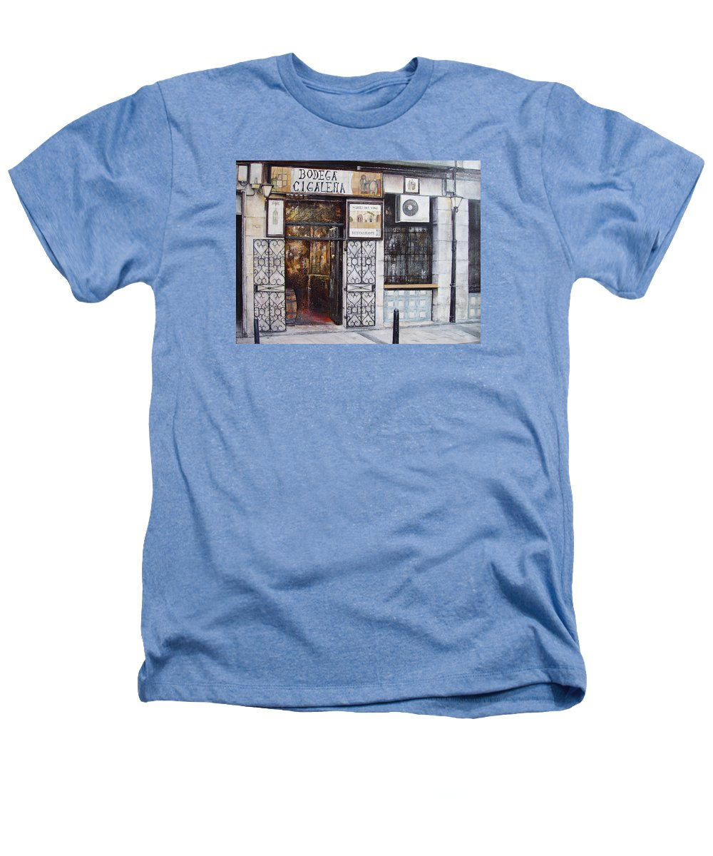 Bodega Heathers T-Shirt featuring the painting La Cigalena Old Restaurant by Tomas Castano