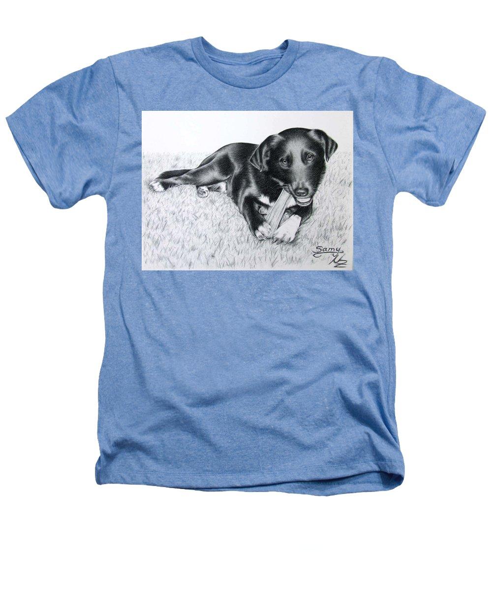 Dog Heathers T-Shirt featuring the drawing Labrador Samy by Nicole Zeug
