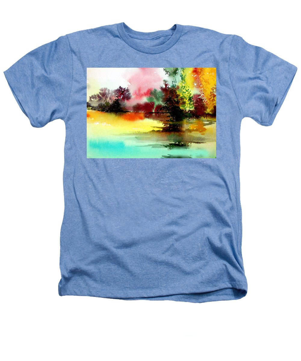 Nature Heathers T-Shirt featuring the painting Lake In Colours by Anil Nene