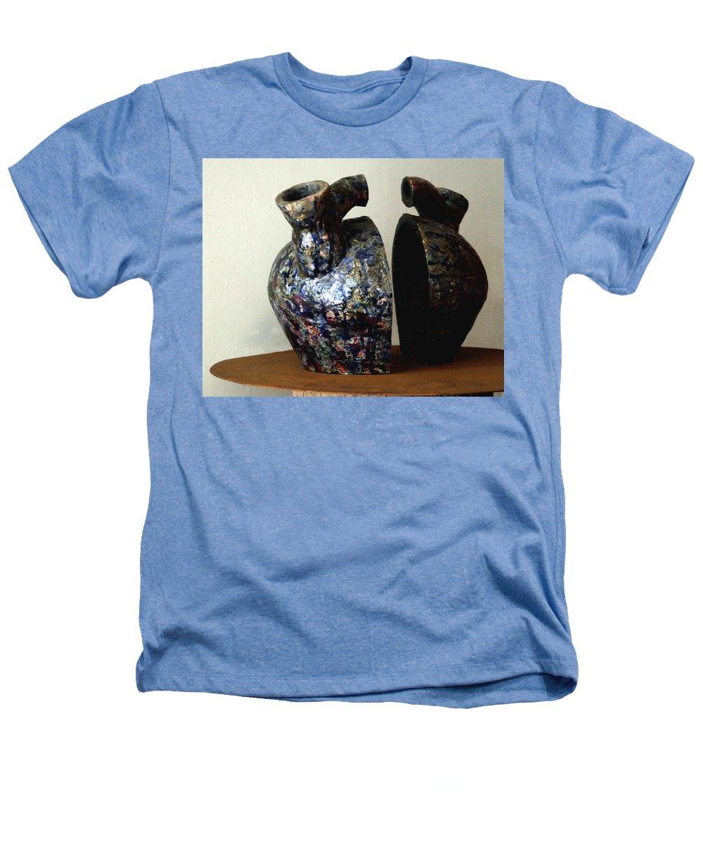 Ceramic Heathers T-Shirt featuring the sculpture Las Venas Abiertas De America Latina by Madalena Lobao-Tello