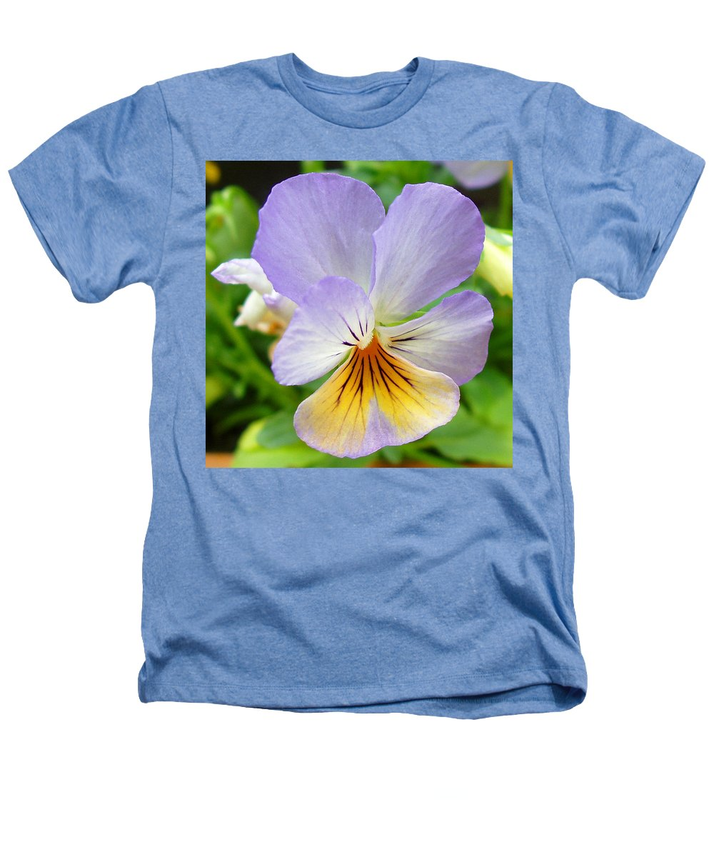 Pansy Heathers T-Shirt featuring the photograph Lavender Pansy by Nancy Mueller