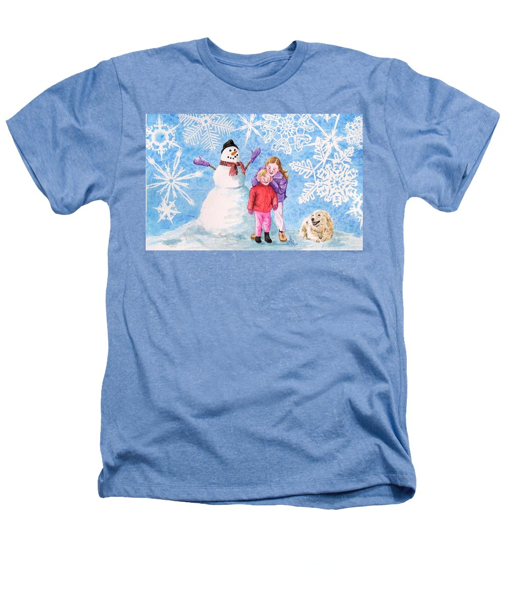 Snowman Heathers T-Shirt featuring the painting Let It Snow by Gale Cochran-Smith
