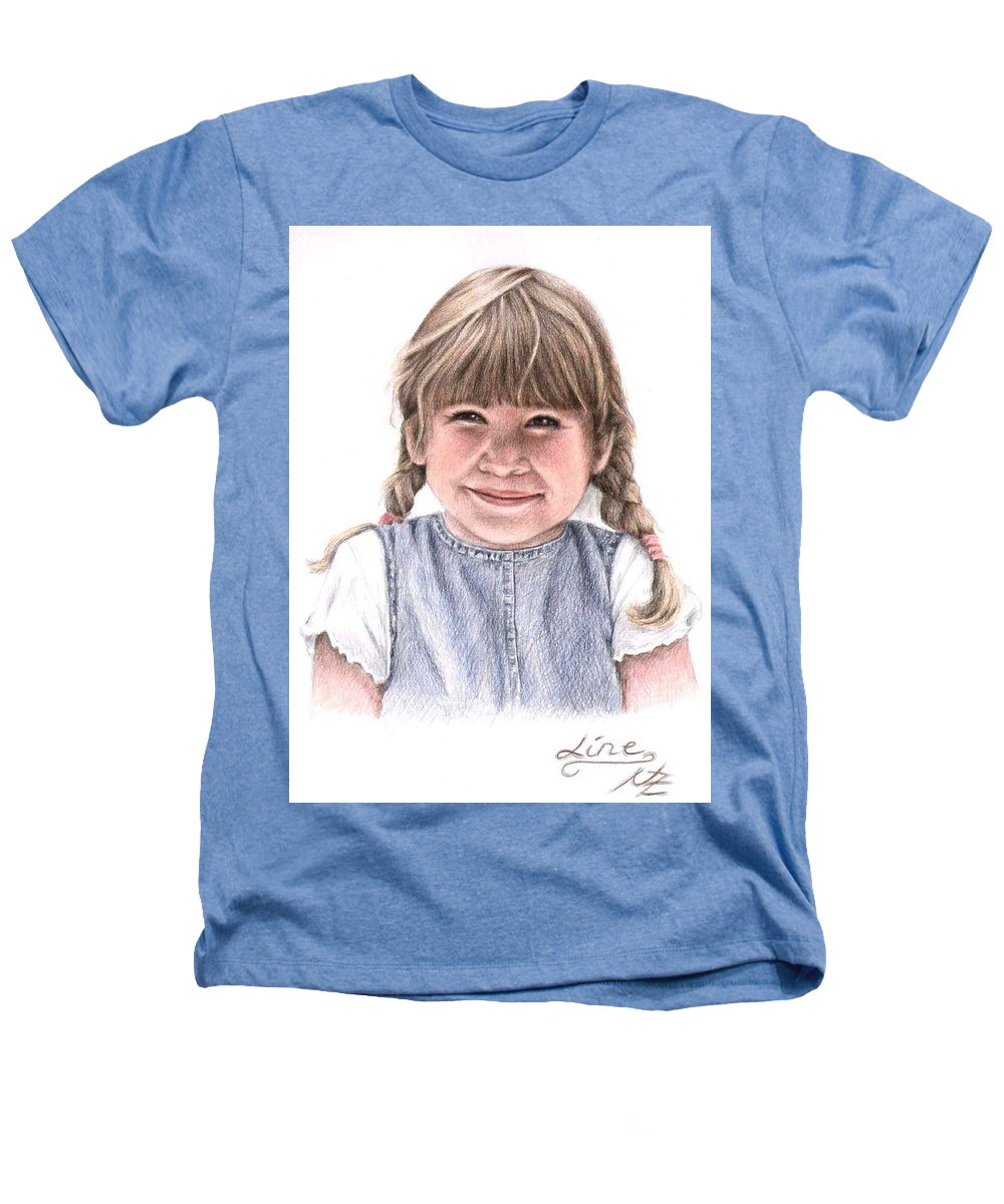 Girl Heathers T-Shirt featuring the drawing Little Girl by Nicole Zeug