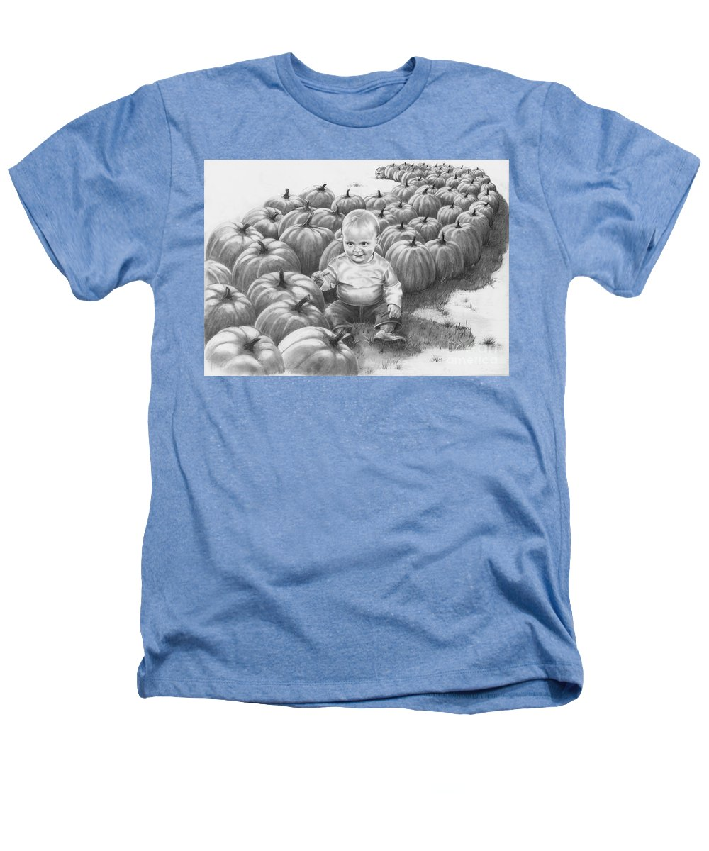 Charity Heathers T-Shirt featuring the drawing Little Pumpkin by Murphy Elliott