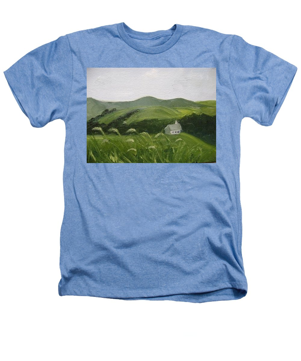 Landscape Heathers T-Shirt featuring the painting Little Schoolhouse On The Hill by Toni Berry