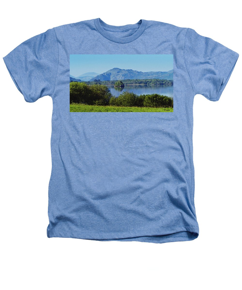 Irish Heathers T-Shirt featuring the painting Loch Leanne Painting Killarney Ireland by Teresa Mucha