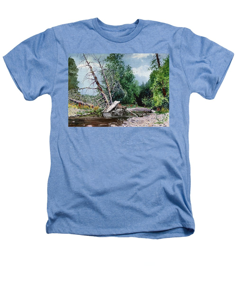 Washington State Heathers T-Shirt featuring the painting Log Jam by Donald Maier