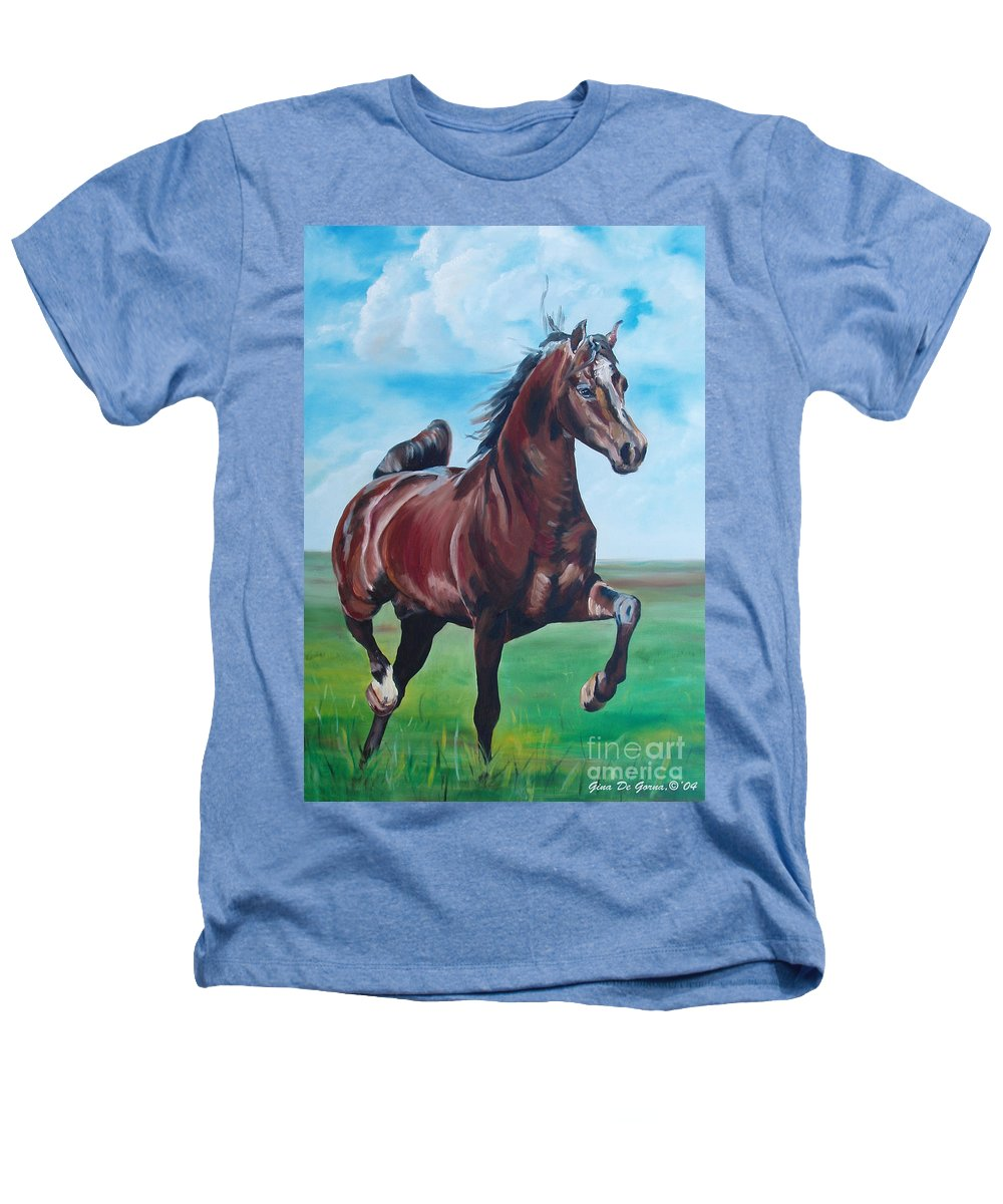 Horse Heathers T-Shirt featuring the painting Lovely by Gina De Gorna