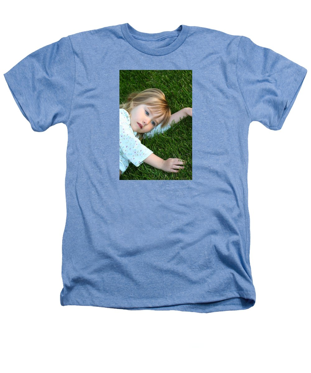 Girl Heathers T-Shirt featuring the photograph Lying In The Grass by Margie Wildblood