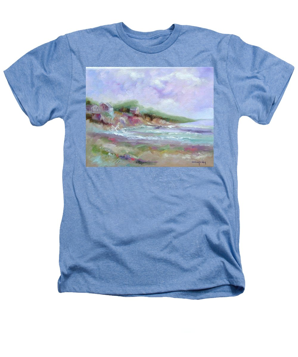 Maine Coastline Heathers T-Shirt featuring the painting Maine Coastline by Ginger Concepcion