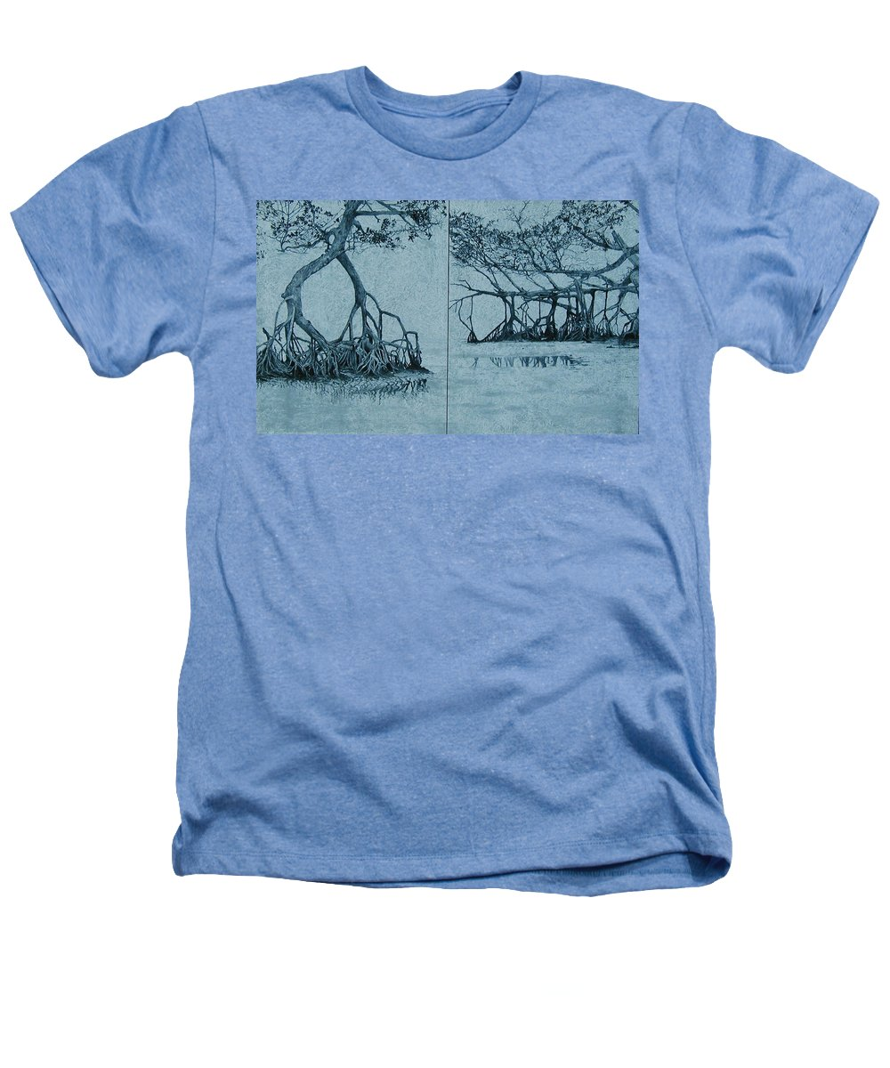 Blue Heathers T-Shirt featuring the painting Mangroves by Leah Tomaino