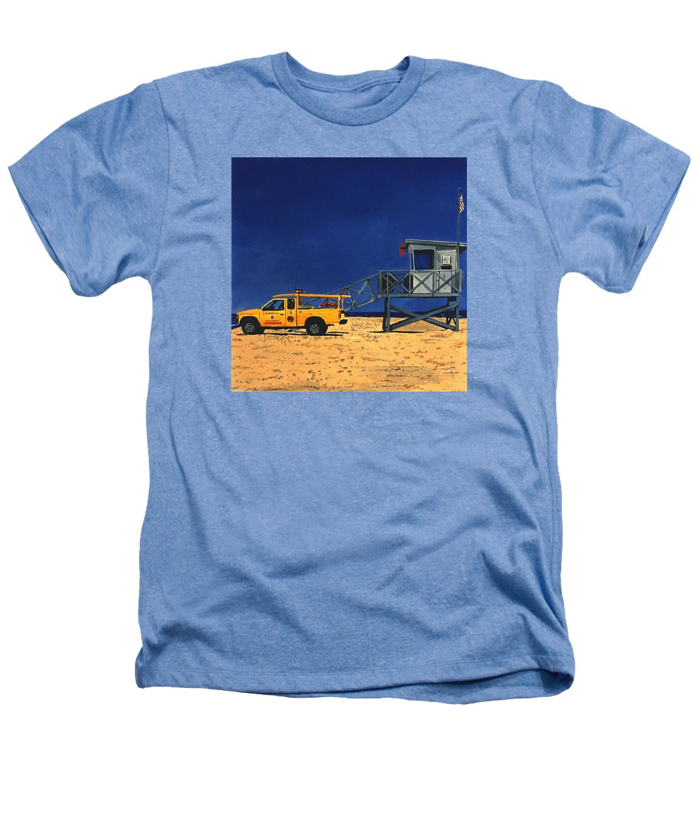 Modern Heathers T-Shirt featuring the painting Manhattan Beach Lifeguard Station Side by Lance Headlee