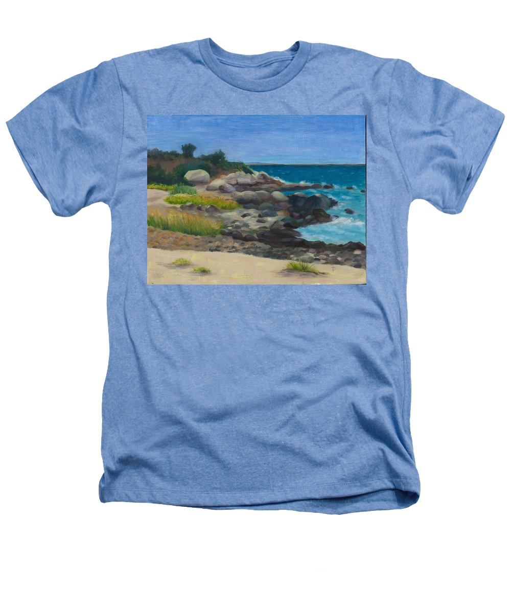 Landscape Heathers T-Shirt featuring the painting Meigs Point by Paula Emery
