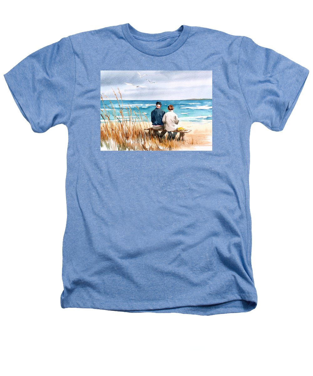 Couple On Beach Heathers T-Shirt featuring the painting Memories by Art Scholz