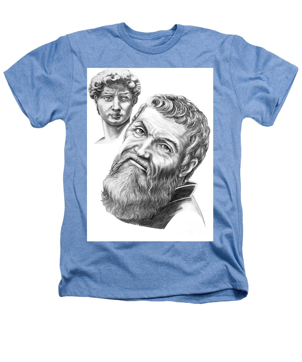 Michelangelo Heathers T-Shirt featuring the drawing Michelangelo And David by Murphy Elliott
