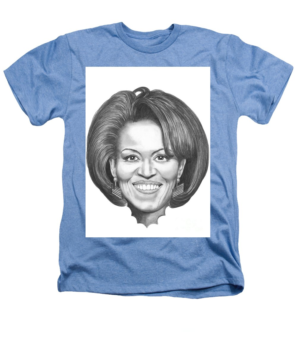 Drawing Heathers T-Shirt featuring the drawing Michelle Obama by Murphy Elliott
