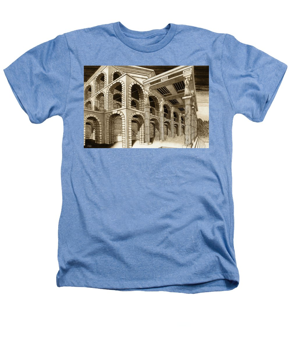 Mithlond Heathers T-Shirt featuring the drawing Mithlond Gray Havens by Curtiss Shaffer