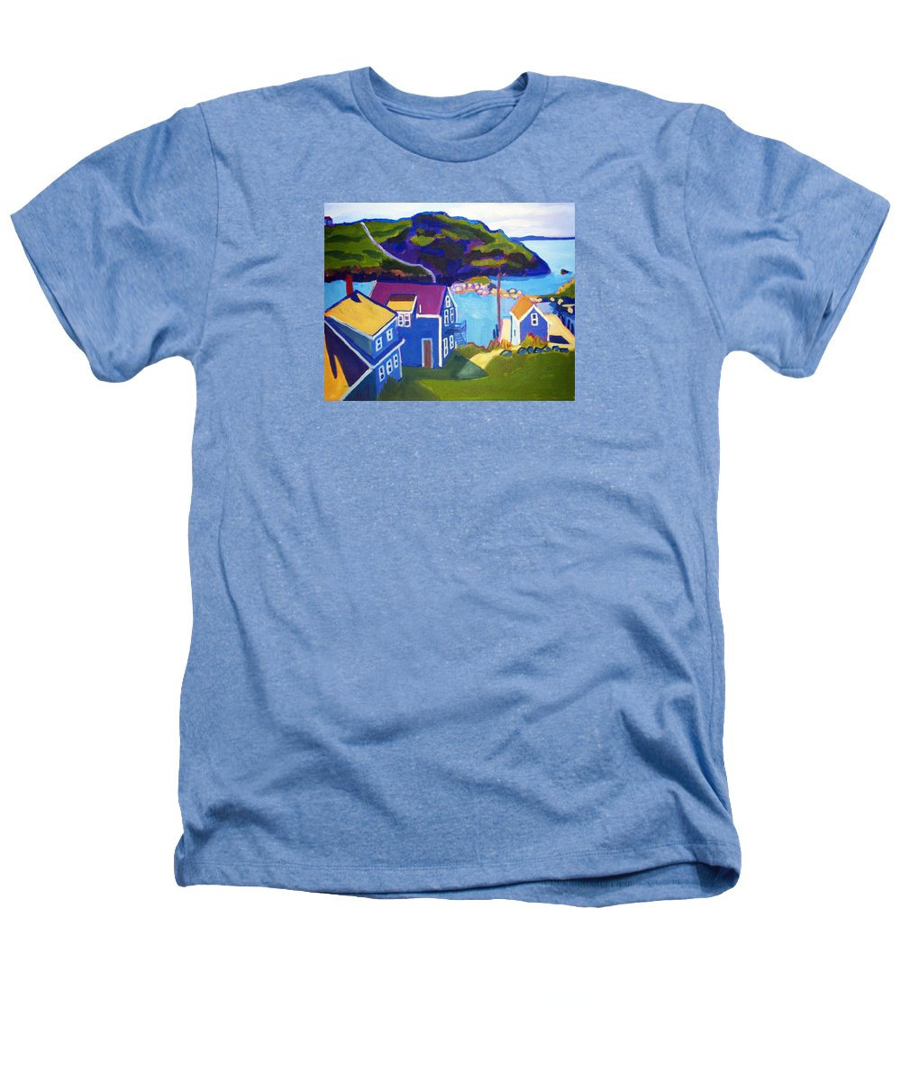 Seascape Heathers T-Shirt featuring the painting Monhegan Harbor by Debra Bretton Robinson