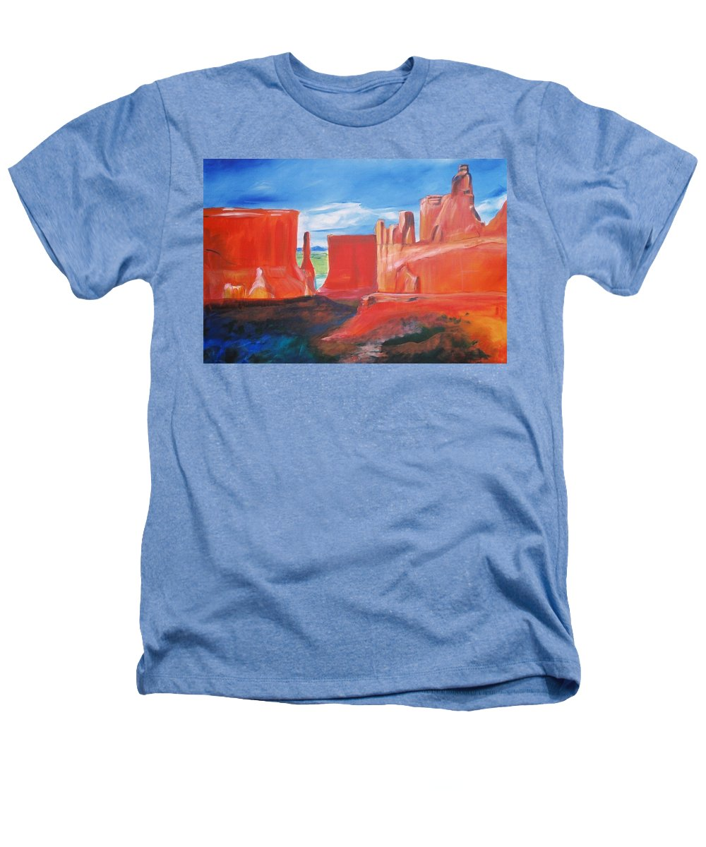 Floral Heathers T-Shirt featuring the painting Monument Valley by Eric Schiabor