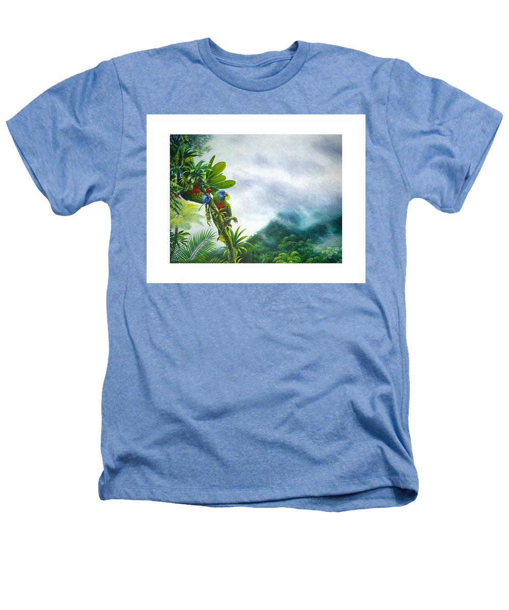 Chris Cox Heathers T-Shirt featuring the painting Mountain High - St. Lucia Parrots by Christopher Cox