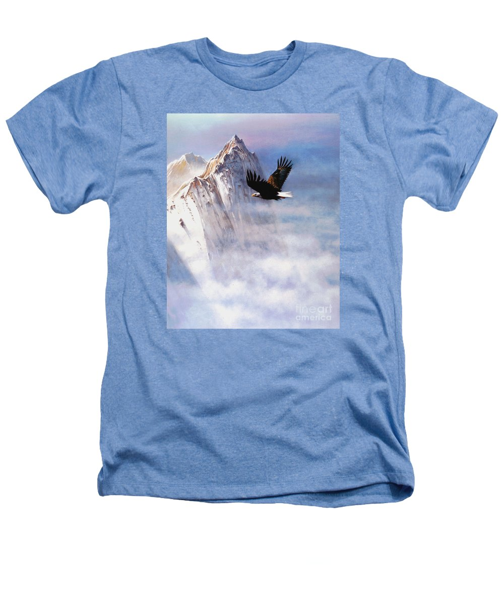 Eagle Heathers T-Shirt featuring the painting Mountain Majesty by Robert Foster