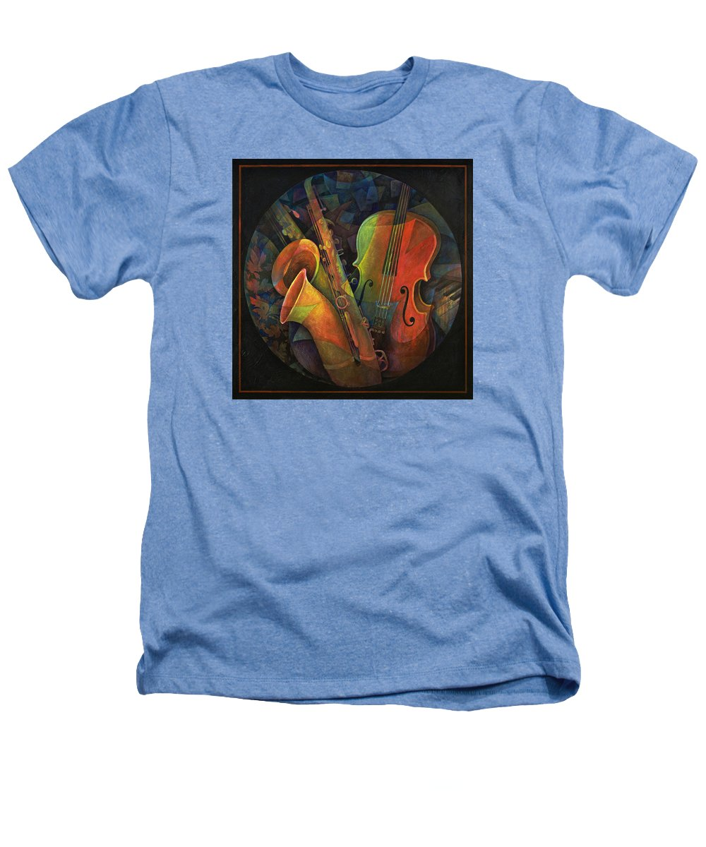 Susanne Clark Heathers T-Shirt featuring the painting Musical Mandala - Features Cello And Sax's by Susanne Clark