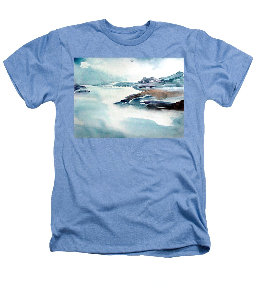 River Heathers T-Shirt featuring the painting Mystic River by Anil Nene