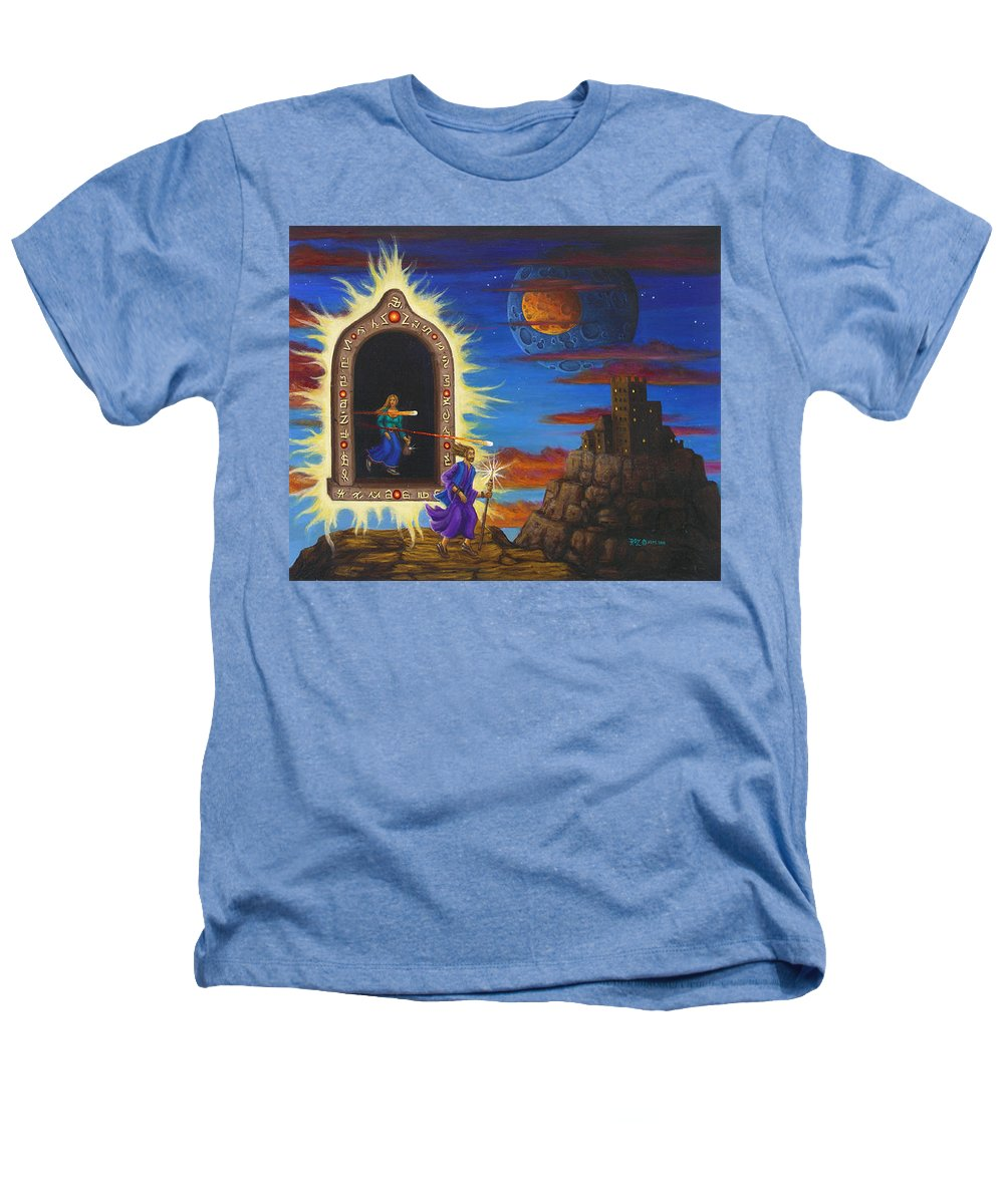 Fantasy Heathers T-Shirt featuring the painting Narrow Escape by Roz Eve