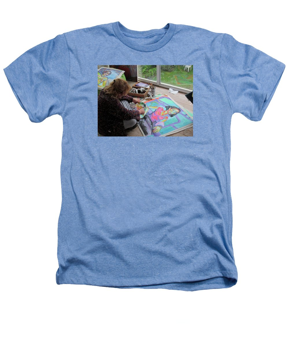 Landscape Heathers T-Shirt featuring the painting Nude by Raquel Sarangello