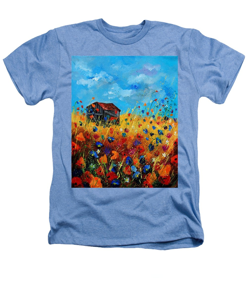 Poppies Heathers T-Shirt featuring the painting Old Barn by Pol Ledent