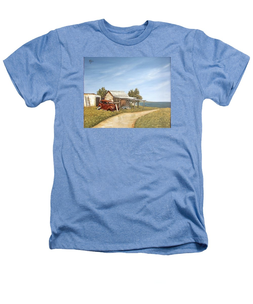 Old House Sea Seascape Landscape Heathers T-Shirt featuring the painting Old House By The Sea by Natalia Tejera