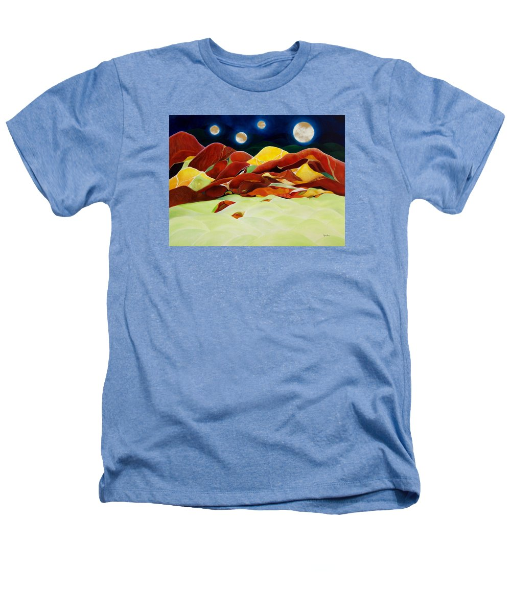 Oil Heathers T-Shirt featuring the painting One Step Up From Third by Peggy Guichu