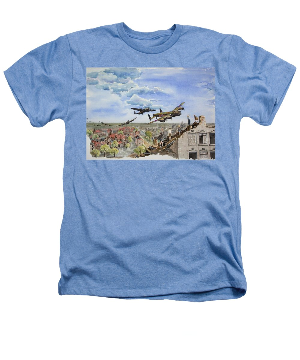 Lancaster Bomber Heathers T-Shirt featuring the painting Operation Manna I by Gale Cochran-Smith
