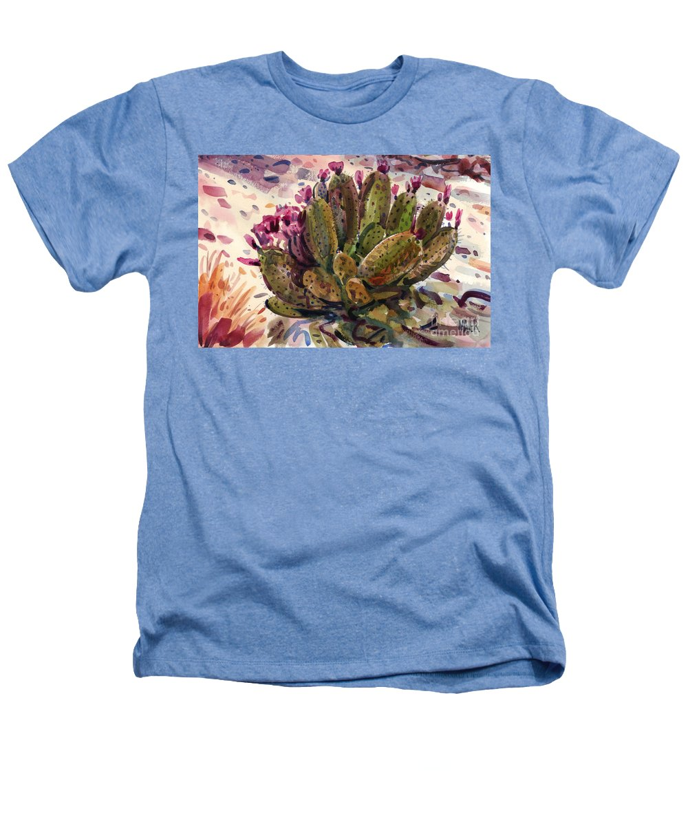 Opuntia Cactus Heathers T-Shirt featuring the painting Opuntia Cactus by Donald Maier