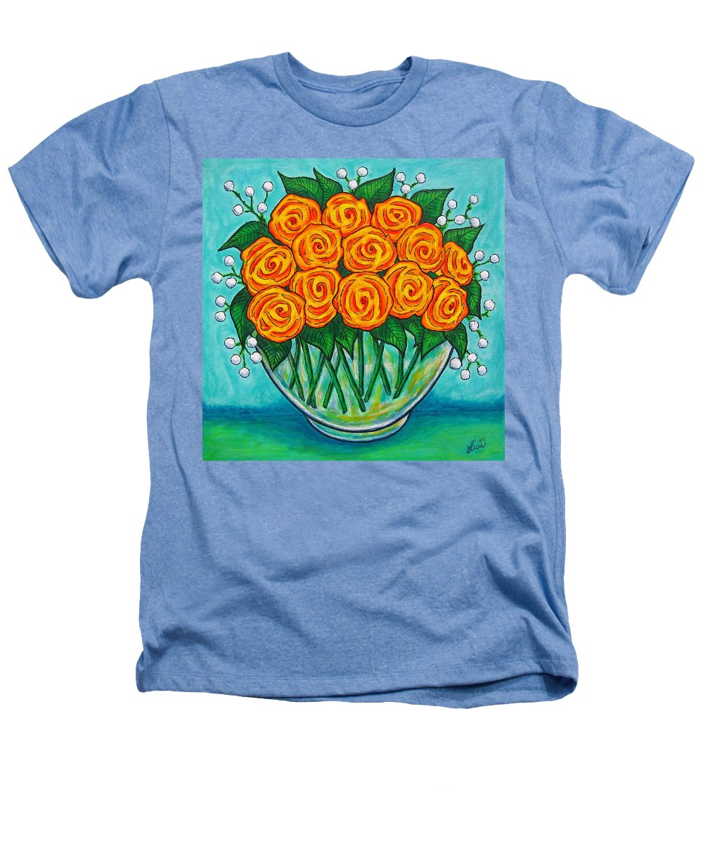 Orange Heathers T-Shirt featuring the painting Orange Passion by Lisa Lorenz