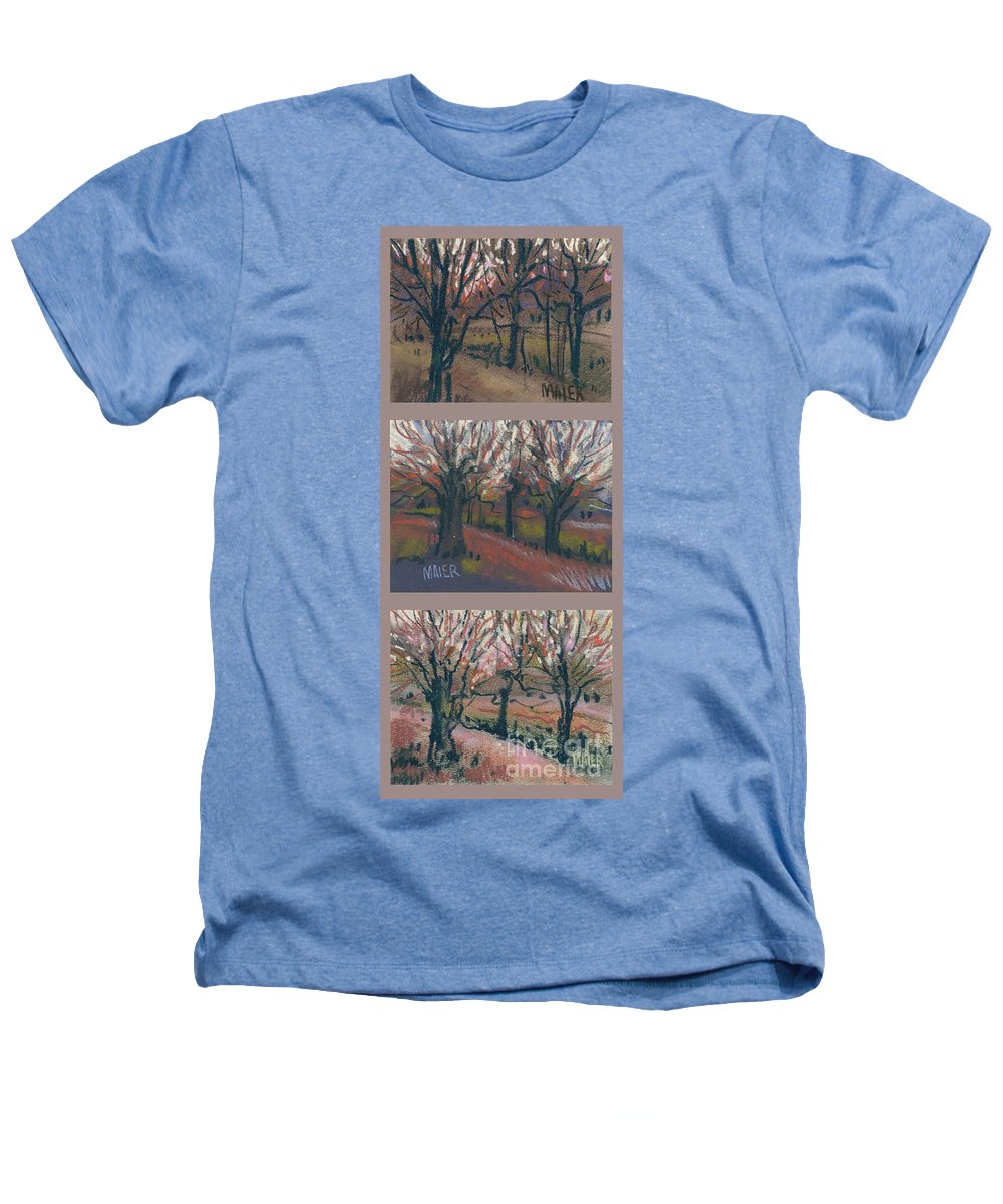 Pastel Heathers T-Shirt featuring the drawing Orchard Sunset by Donald Maier