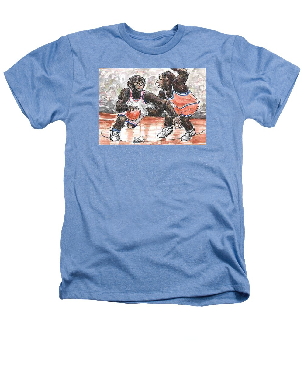 Basketball Heathers T-Shirt featuring the painting Out Of My Way by George I Perez