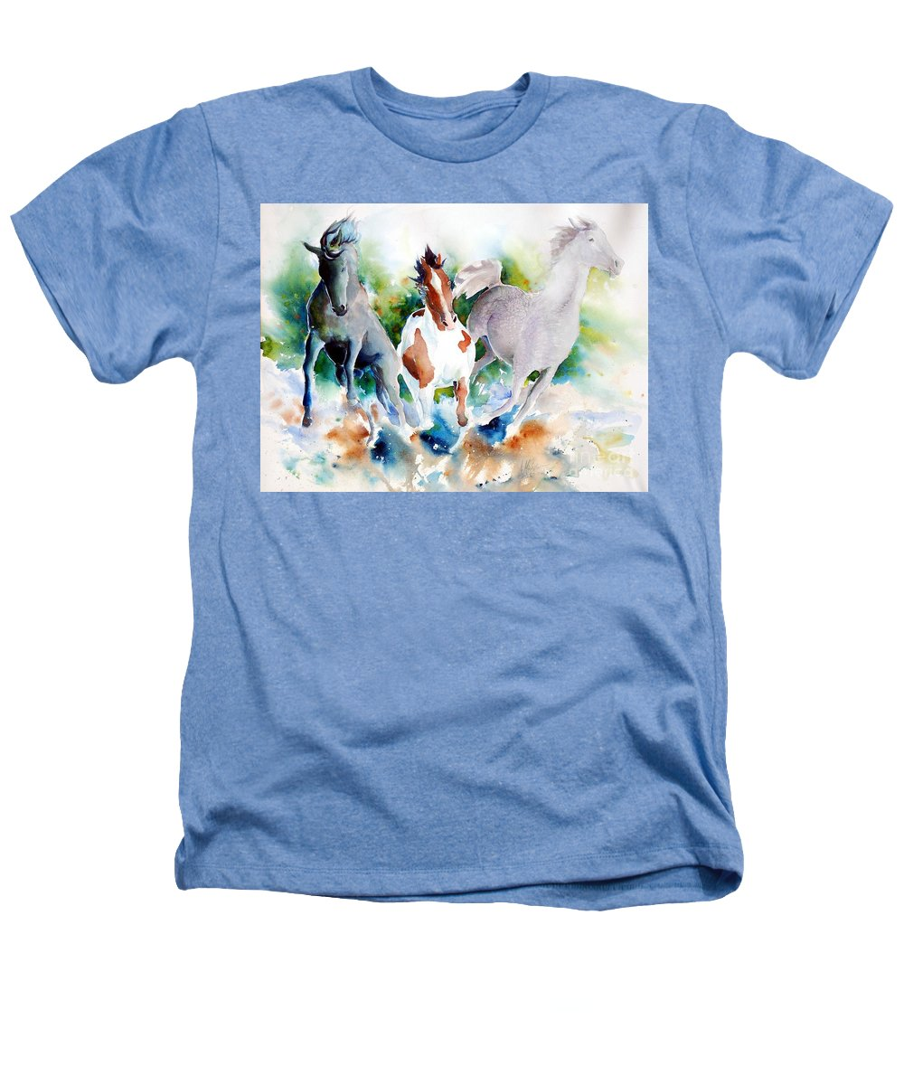 Horses Heathers T-Shirt featuring the painting Out Of Nowhere by Christie Michelsen