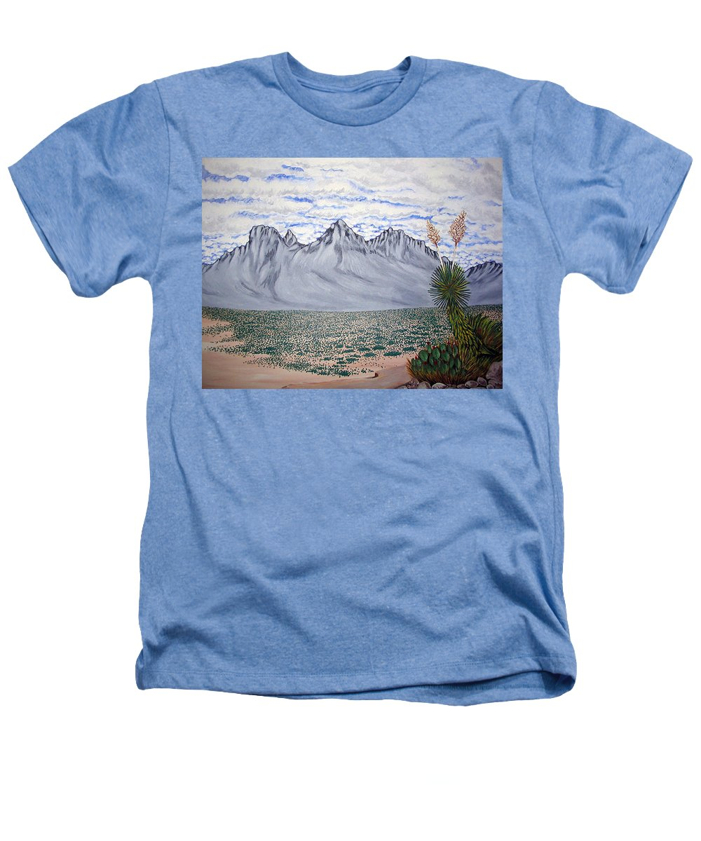 Desertscape Heathers T-Shirt featuring the painting Pass Of The North by Marco Morales