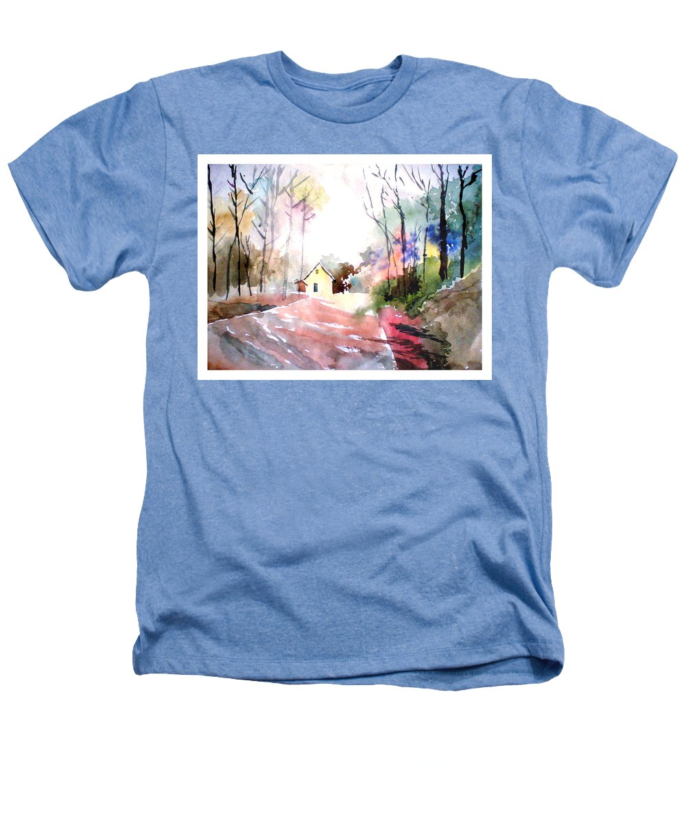 Nature Heathers T-Shirt featuring the painting Path In Colors by Anil Nene