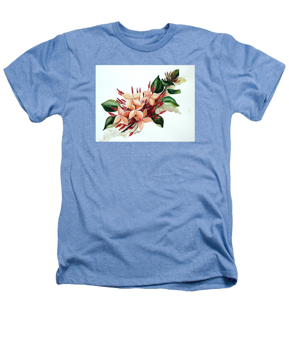 Floral Peach Flower Watercolor Ixora Botanical Bloom Heathers T-Shirt featuring the painting Peachy Ixora by Karin Dawn Kelshall- Best