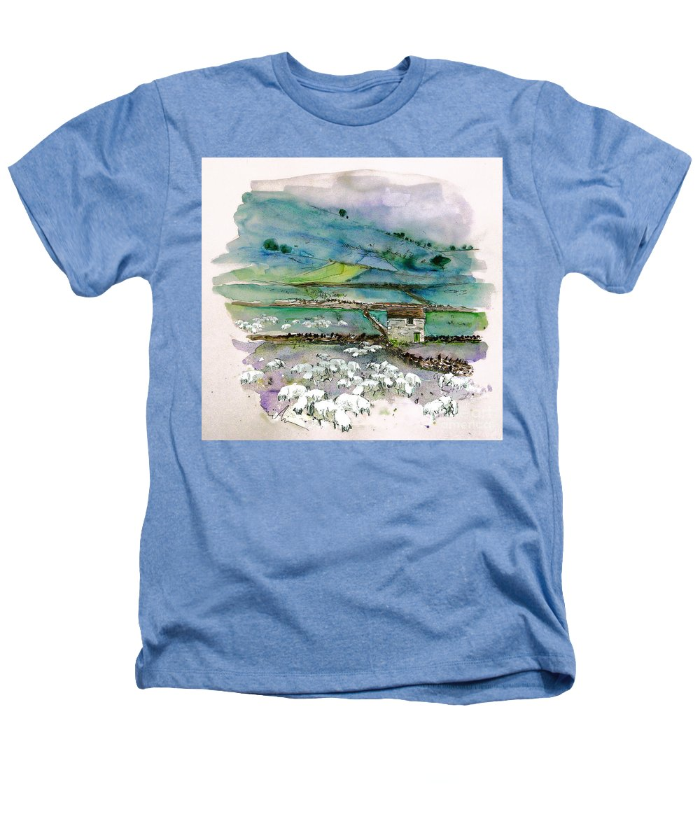 Paintings England Watercolour Travel Sketches Ink Drawings Art Landscape Paintings Town Heathers T-Shirt featuring the painting Peak District Uk Travel Sketch by Miki De Goodaboom