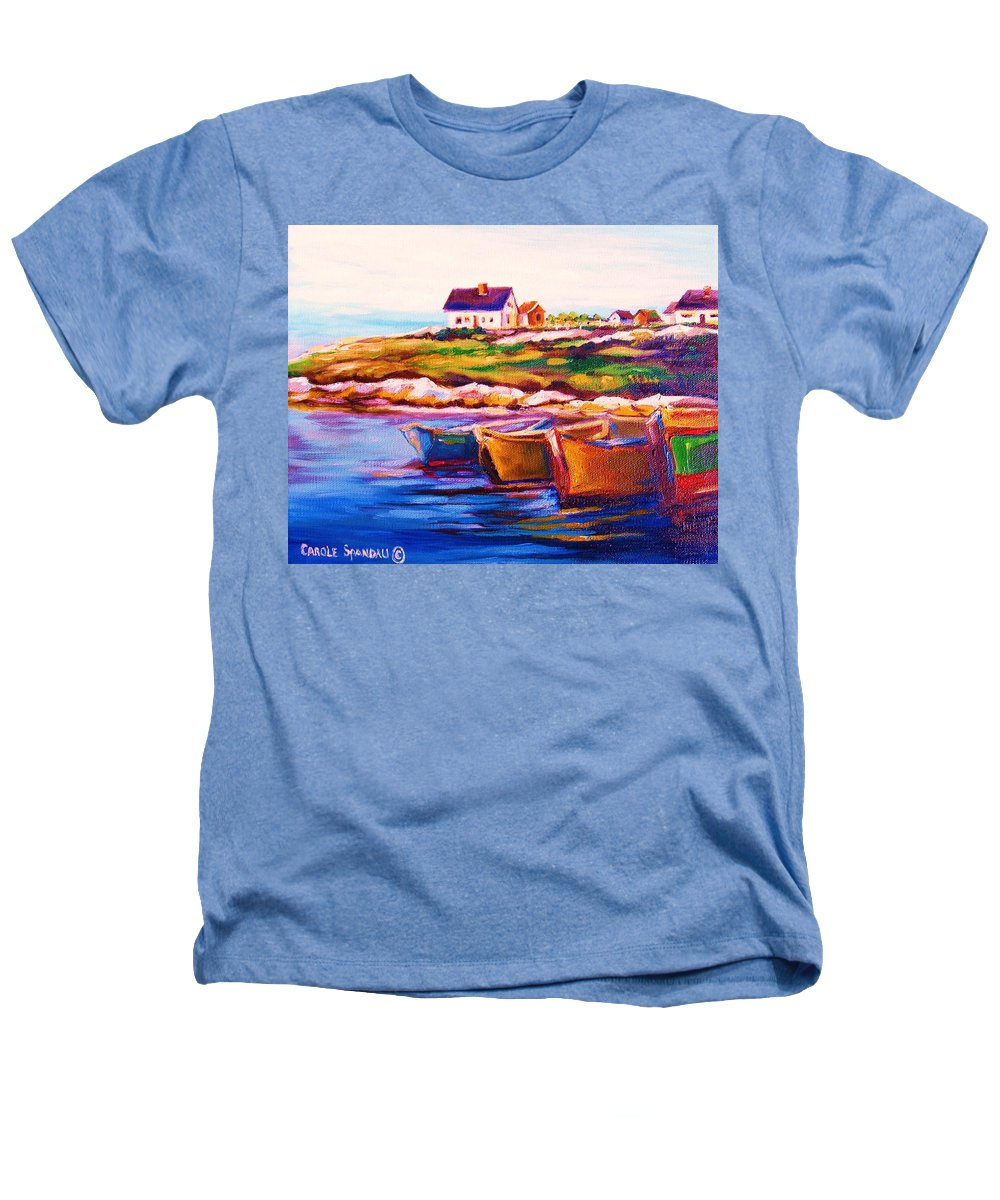 Row Boats Heathers T-Shirt featuring the painting Peggys Cove Four Row Boats by Carole Spandau