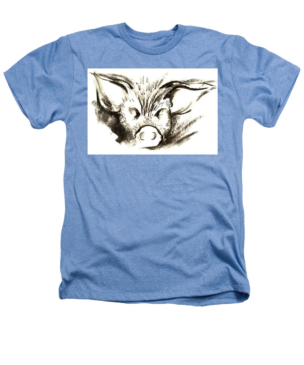 Animal Welfare Heathers T-Shirt featuring the drawing Pig Headed by Mark Cawood