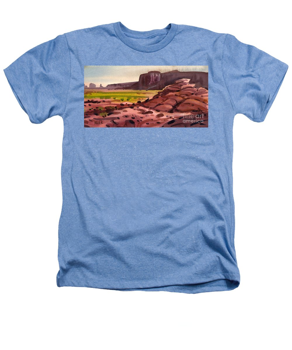 Monument Valley Heathers T-Shirt featuring the painting Pillow Rocks by Donald Maier