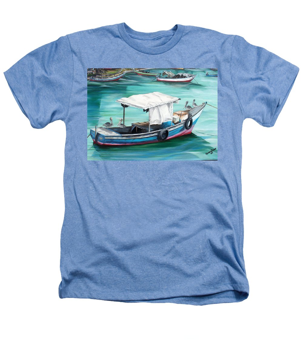 Fishing Boat Painting Seascape Ocean Painting Pelican Painting Boat Painting Caribbean Painting Pirogue Oil Fishing Boat Trinidad And Tobago Heathers T-Shirt featuring the painting Pirogue Fishing Boat by Karin Dawn Kelshall- Best