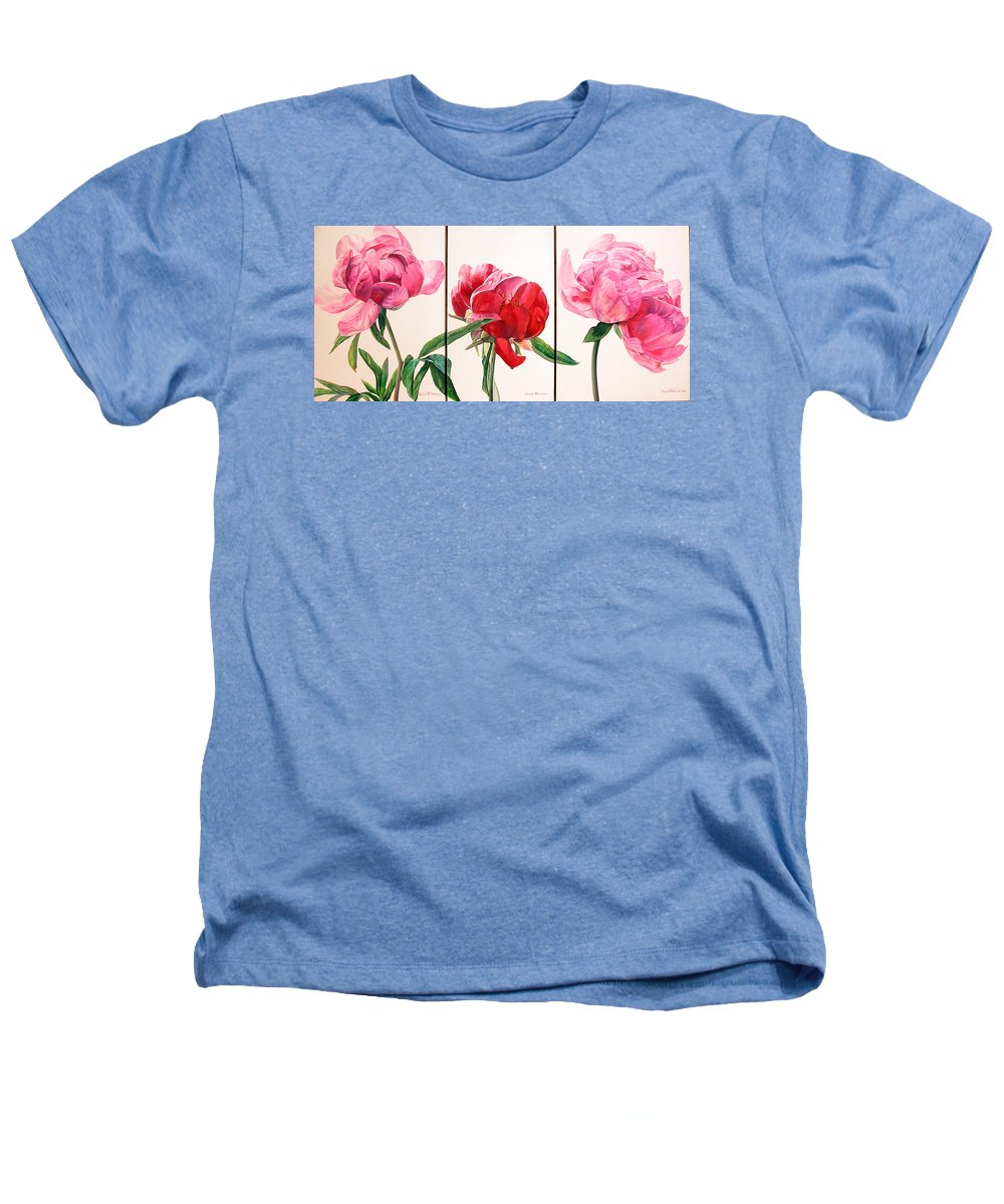 Floral Painting Heathers T-Shirt featuring the painting Pivoines by Muriel Dolemieux