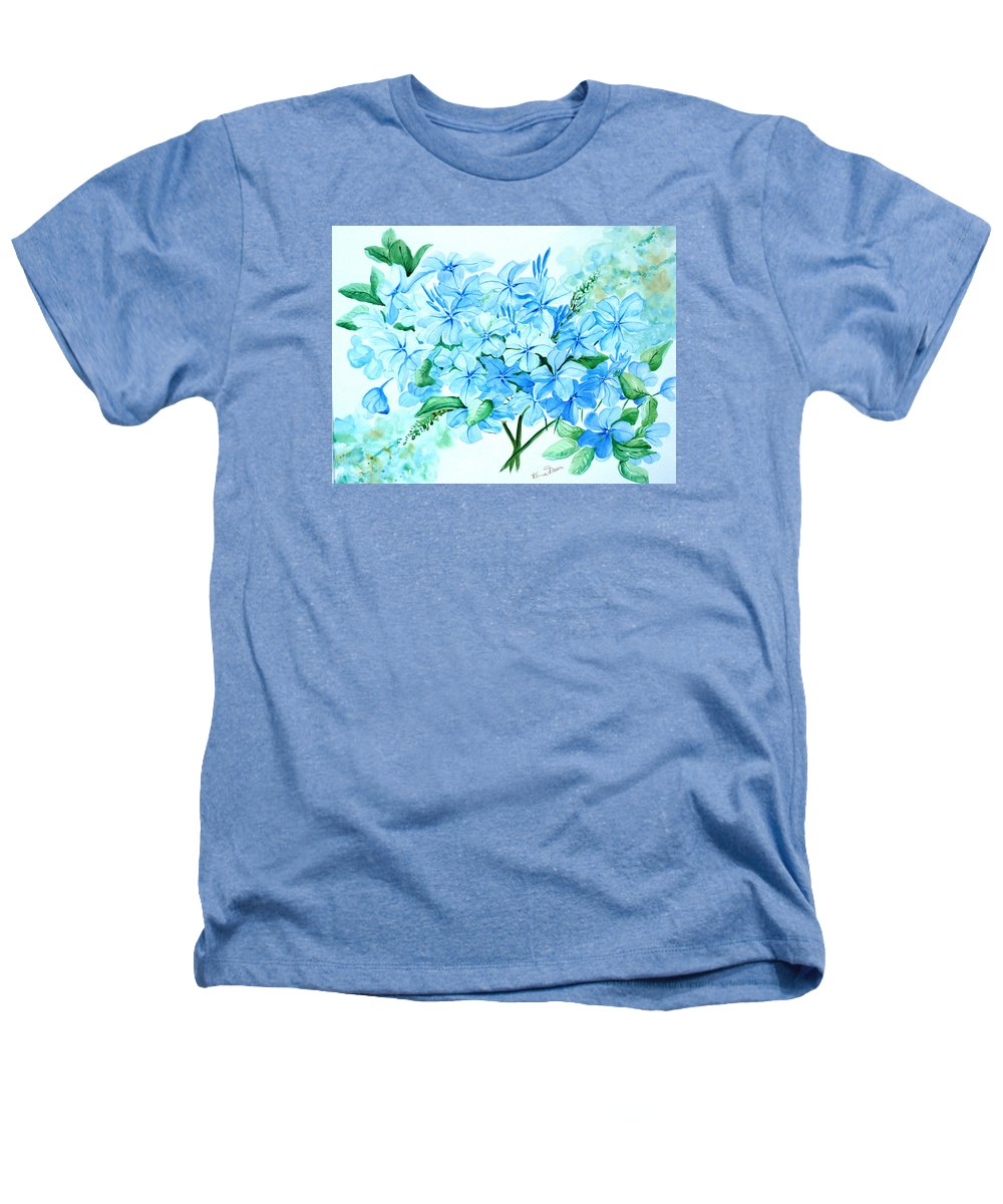 Floral Blue Painting Plumbago Painting Flower Painting Botanical Painting Bloom Blue Painting Heathers T-Shirt featuring the painting Plumbago by Karin Dawn Kelshall- Best