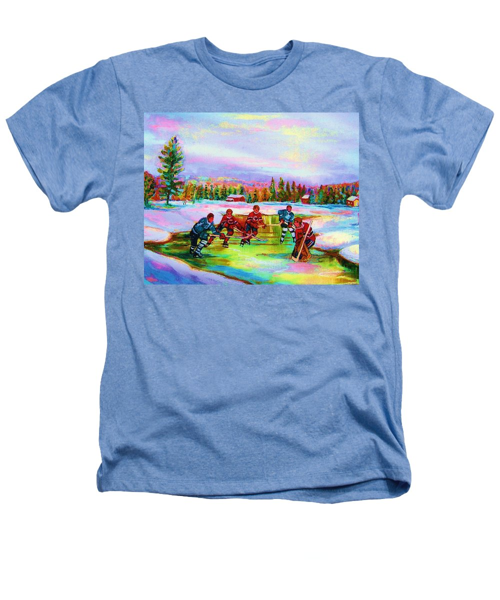 Hockey Heathers T-Shirt featuring the painting Pond Hockey Blue Skies by Carole Spandau