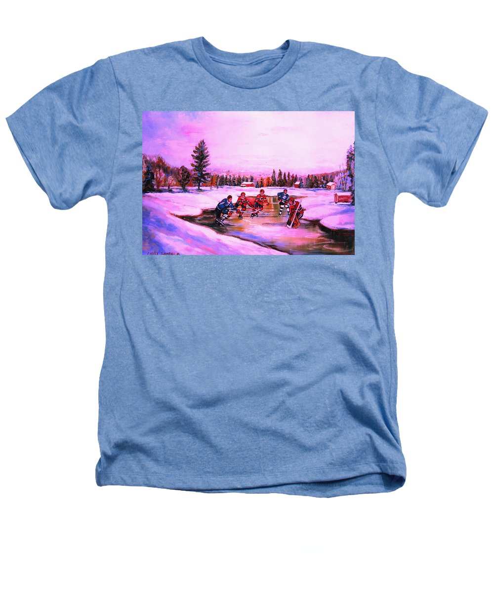 Hockey Heathers T-Shirt featuring the painting Pond Hockey Warm Skies by Carole Spandau